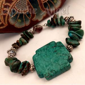 """Hubei Turquoise Chip / Cross Bracelet 8"""""""